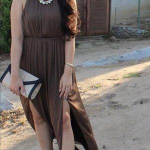 Zara light brown black lining slit long dress